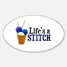 Knitting - Life's a Stitch Oval Decal