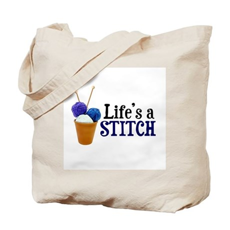 Knitting - Life's a Stitch Tote Bag