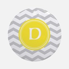 Grey Chevron Monogram Ornament (Round)