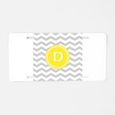Grey Chevron Monogram Aluminum License Plate