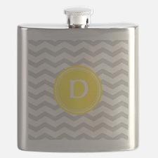 Grey Chevron Monogram Flask