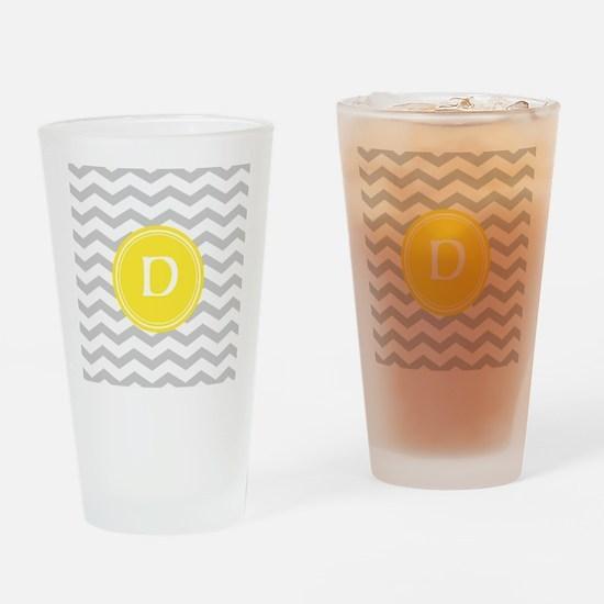 Grey Chevron Monogram Drinking Glass