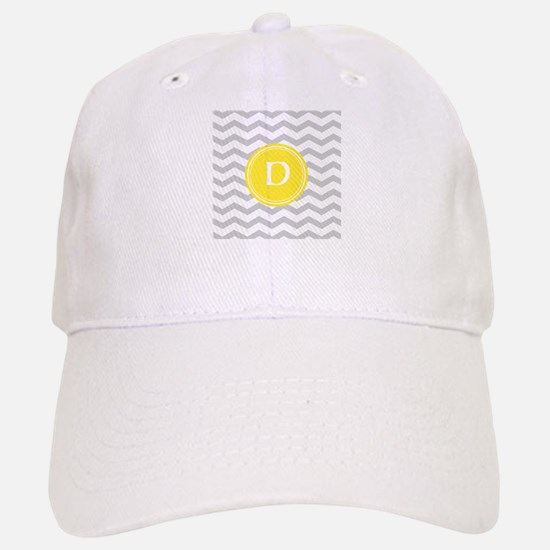Grey Chevron Monogram Baseball Baseball Cap