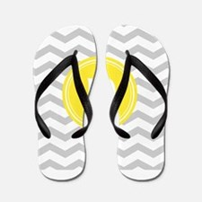 Grey Chevron Monogram Flip Flops