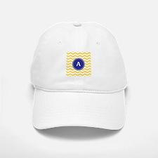 Monogrammed yellow chevron Baseball Baseball Cap