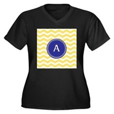 Monogrammed yellow chevron Plus Size T-Shirt