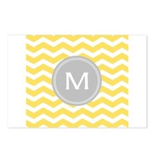 Yellow Chevron Monogram Postcards (Package of 8)