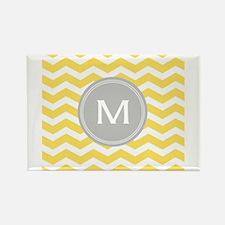 Yellow Chevron Monogram Magnets