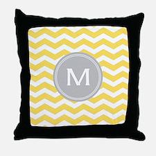 Yellow Chevron Monogram Throw Pillow