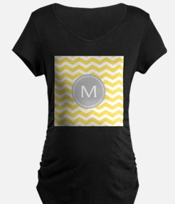 Yellow Chevron Monogram Maternity T-Shirt