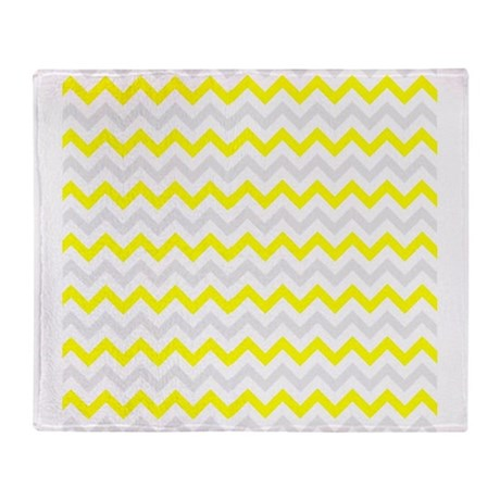 Yellow and Grey Zig Zags Throw Blanket