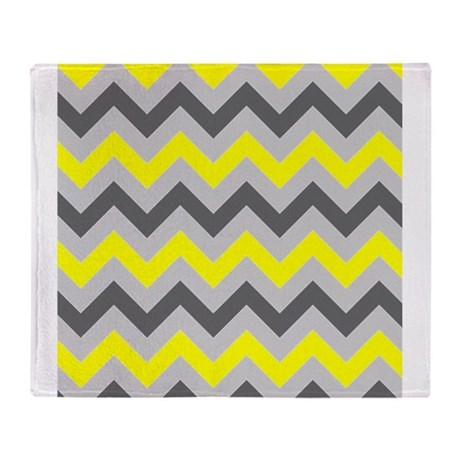 Yellow and Gray Chevron Throw Blanket