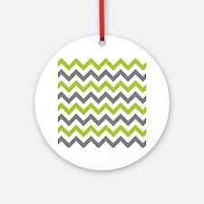 Green and Grey Chevron Ornament (Round)