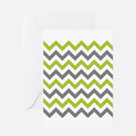 Green and Grey Chevron Greeting Cards