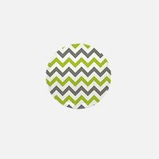 Green and Grey Chevron Mini Button