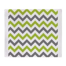 Green and Grey Chevron Throw Blanket
