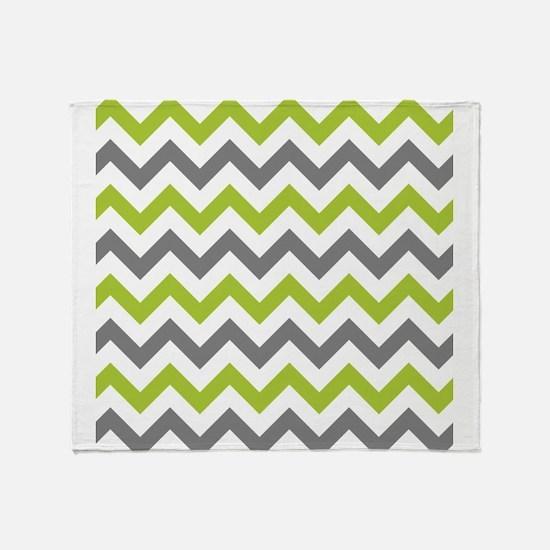 Green and Grey Chevron Throw Blanket