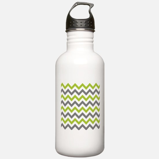 Green and Grey Chevron Sports Water Bottle