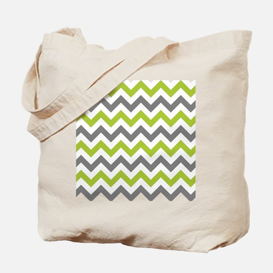 Green and Grey Chevron Tote Bag