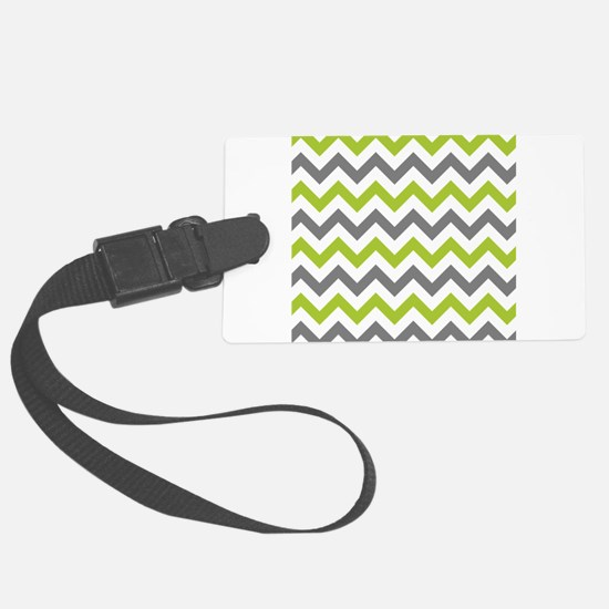 Green and Grey Chevron Luggage Tag
