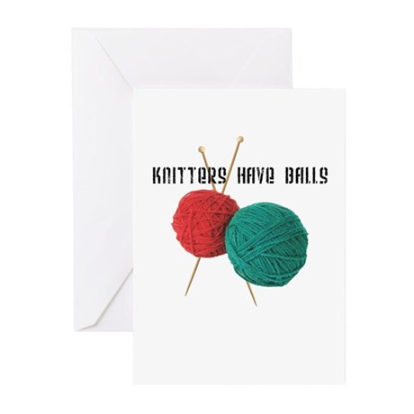 Knitters have Balls Greeting Cards (Pk of 10)