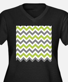 Green and Grey Chevron Plus Size T-Shirt