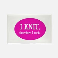 I Knit Therefore I Rock Rectangle Magnet