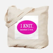 I Knit Therefore I Rock Tote Bag