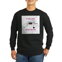 Knit - It Takes Balls Long Sleeve Dark T-Shirt