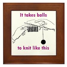 Knit - It Takes Balls Framed Tile
