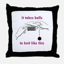 Knit - It Takes Balls Throw Pillow