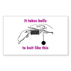 Knit - It Takes Balls Rectangle Decal