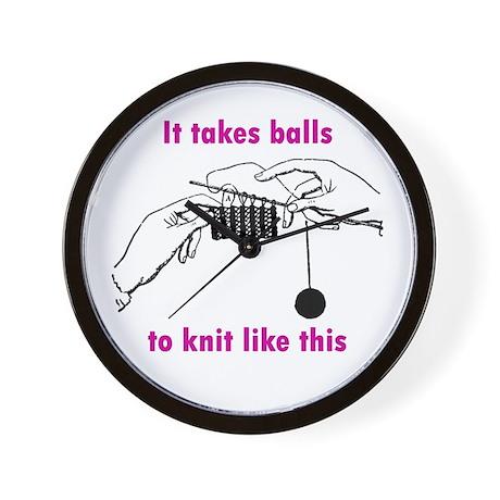Knit - It Takes Balls Wall Clock