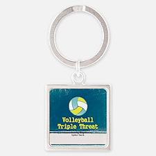Volleyball Slogan Square Keychain