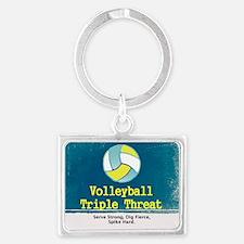 Volleyball Slogan Landscape Keychain