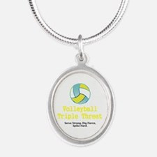 Volleyball Slogan Silver Oval Necklace