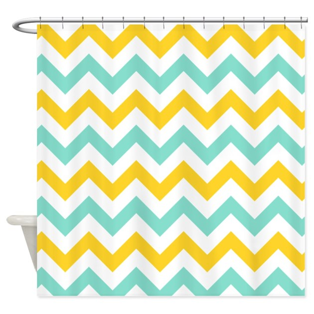 Yellow And Mint Chevron Shower Curtain By Admin Cp49789583