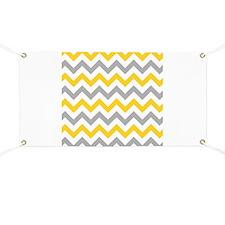 Yellow and Grey Chevron Banner