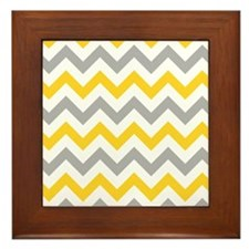 Yellow and Grey Chevron Framed Tile