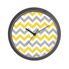 Yellow and Grey Chevron Wall Clock