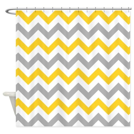 yellow and grey chevron shower curtain by admin cp49789583