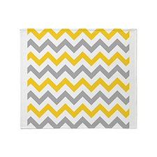 Yellow and Grey Chevron Throw Blanket
