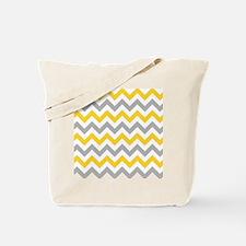 Yellow and Grey Chevron Tote Bag
