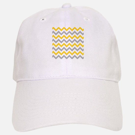 Yellow and Grey Chevron Baseball Baseball Cap