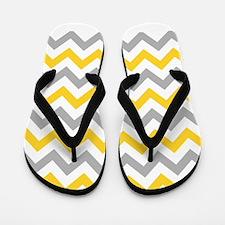Yellow and Grey Chevron Flip Flops