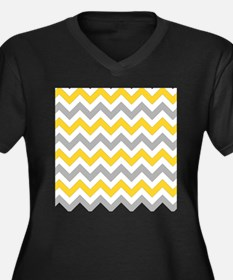Yellow and Grey Chevron Plus Size T-Shirt