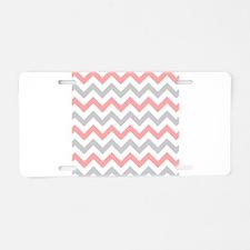 Coral and Grey Chevron Aluminum License Plate