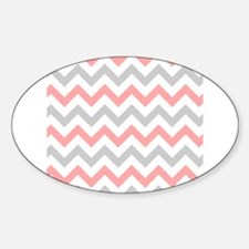 Coral and Grey Chevron Decal