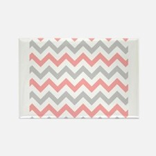 Coral and Grey Chevron Magnets