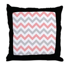 Coral and Grey Chevron Throw Pillow